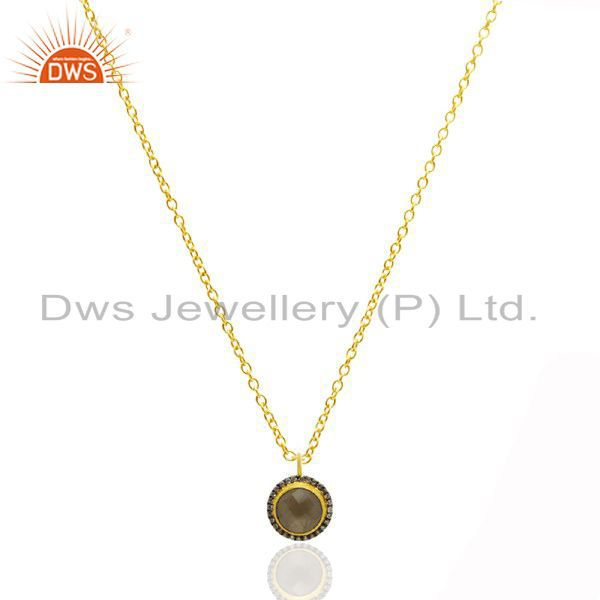 18K Yellow Gold Plated Sterling Silver Smoky Quartz And CZ Pendant With Chain