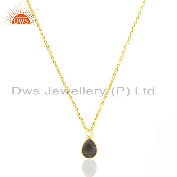 18K Yellow Gold Plated Sterling Silver Smoky Quartz Bezel Link Chain Necklace