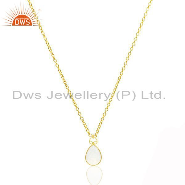 18K Yellow Gold Plated Sterling Silver White Chalcedony Drop Pendant With Chain