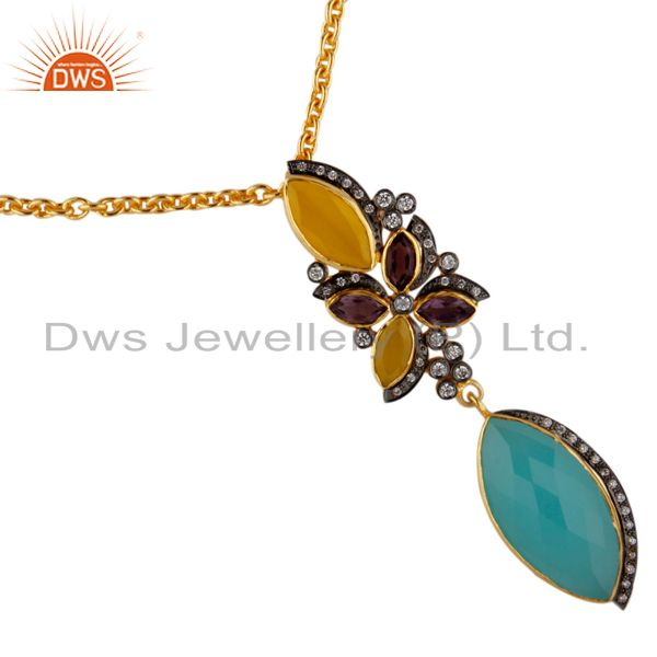 Designer 18k gold plated yellow moonstone and chalcedony pendant necklace