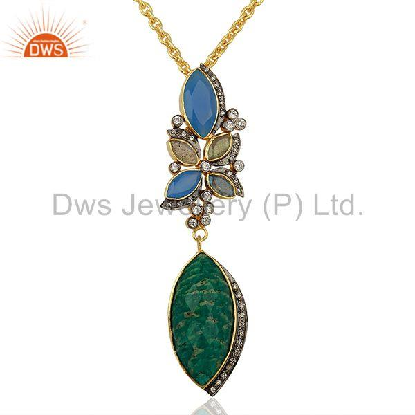 Amazonite Gemstone Gold Plated Womens Fashion Pendant Supplier