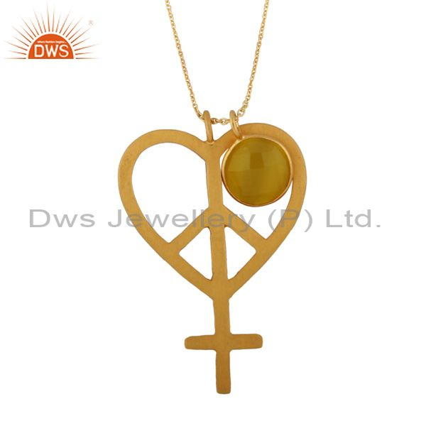 18K Yellow Gold Plated Silver Yellow Moonstone Peace Sign Pendant With Chain