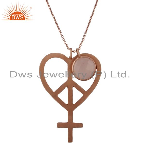 18K Rose Gold Plated Silver Rose Chalcedony Peace Sign Pendant With Chain