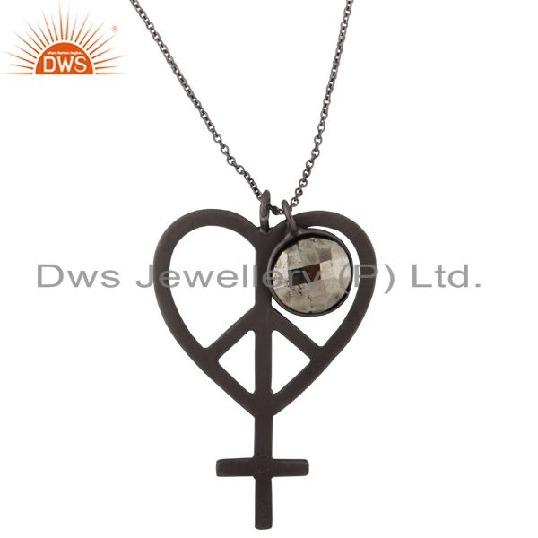 Oxidized Solid Sterling Silver Pyrite And Peace Charm Pendant With Chain