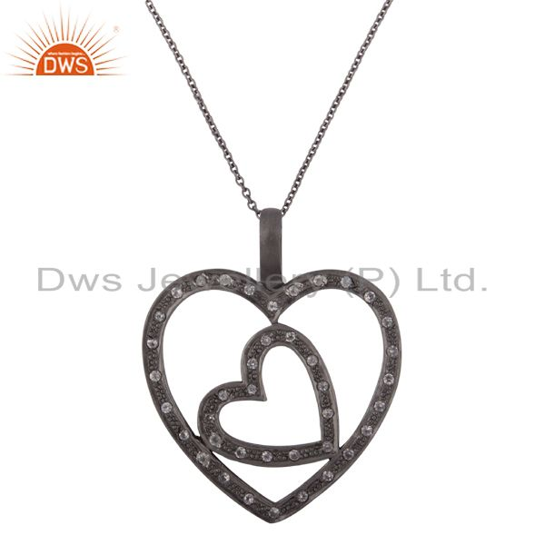 925 Sterling Silver With Oxidized White Topaz Heart Design Pendant With Chain