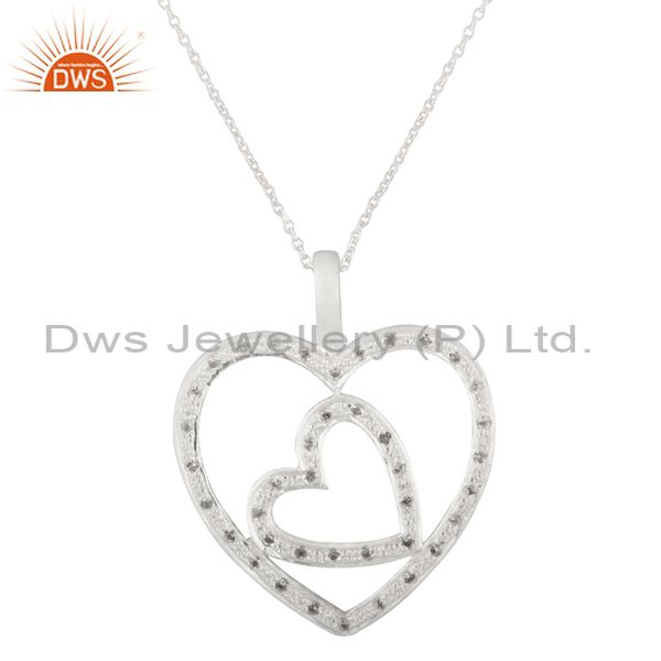 925 Sterling Silver White Topaz Heart Designer Pendant With Chain