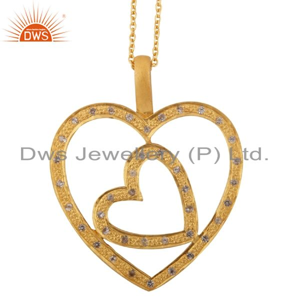 18K Yellow Gold Plated Sterling Silver White Topaz Double Heart Pendant Necklace