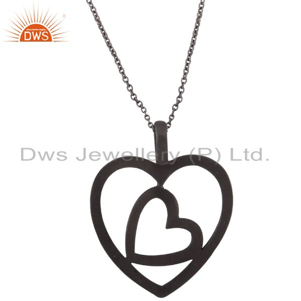 925 Sterling Silver With Oxidized Cutout Heart Design Pendant With Chain
