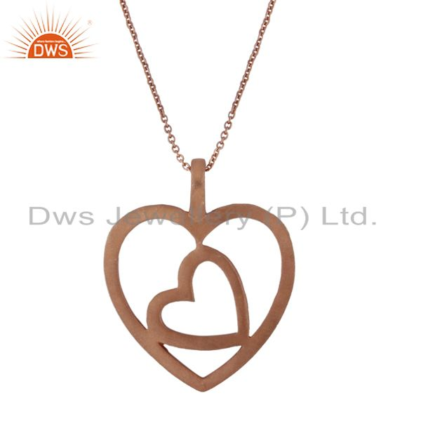 18K Rose Gold Plated Sterling Silver Cutout Heart Design Pendant With Chain