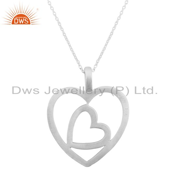 Handmade 925 Sterling Silver Cutout Double Heart Design Pendant With Chain