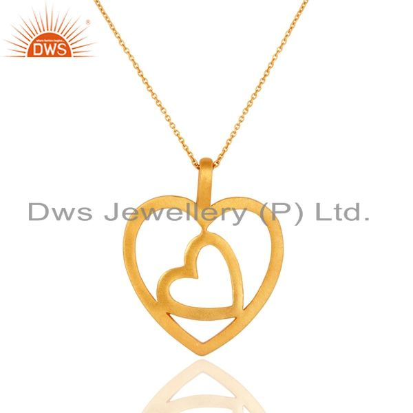 18K Gold Plated Sterling Silver Brush Finish Double Heart Pendant Necklace