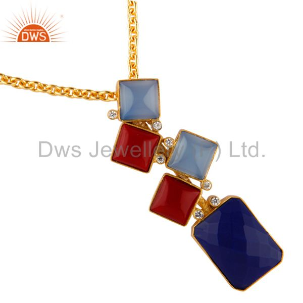 18K Yellow Gold Plated Red Coral, Chalcedony And Lapis lazuli Pendant With CZ