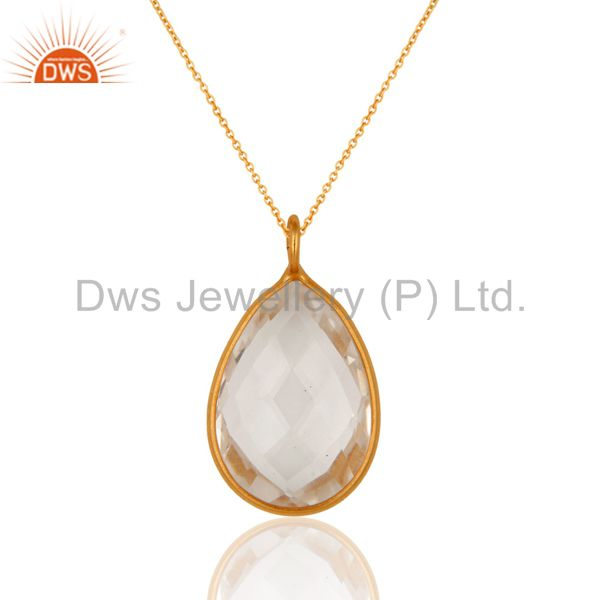 18K Yellow Gold Plated Sterling Silver Crystal Quartz Bezel Set Pendant Necklace