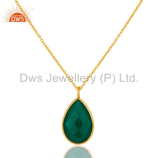 22k Gold Plated Sterling Silver Green Onyx Gemstone Chain Pendant Necklace