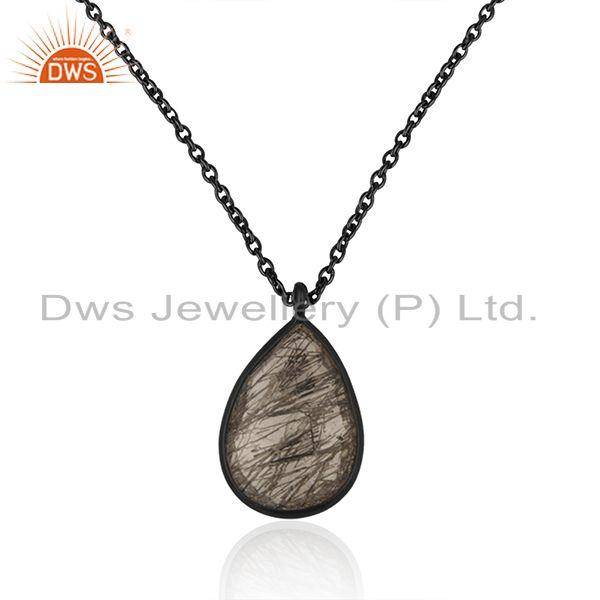 Black rutile gemstone 925 sterling silver chain pendant manufacturer india