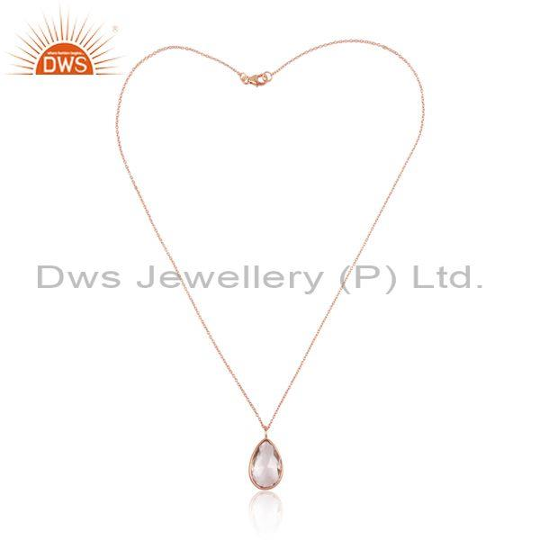 Crystal Quartz Set Pendant And Rose Gold On 925 Silver Chain