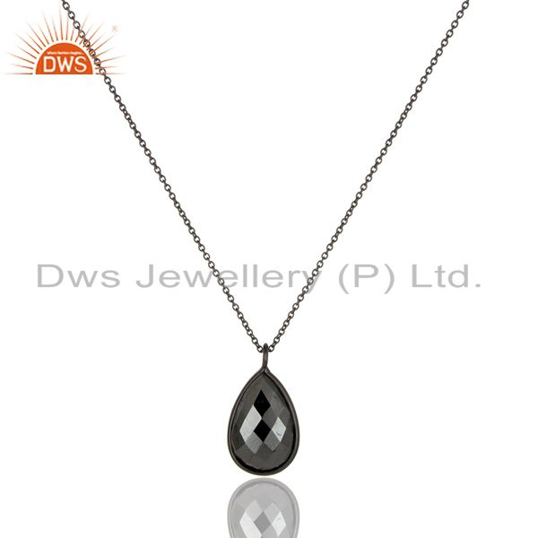 Oxidized 925 Sterling Silver Golden Pyrite Bezel Set Drop Pendant With Chain