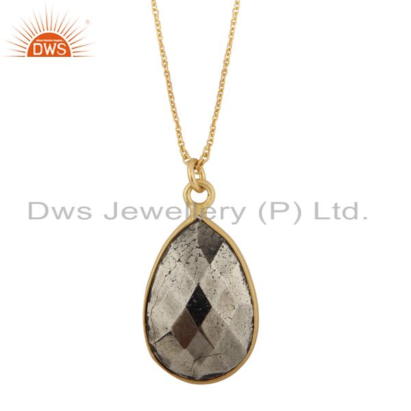 18K Yellow Gold Plated Sterling Silver Pyrite Bezel Set Drop Pendant With Chain