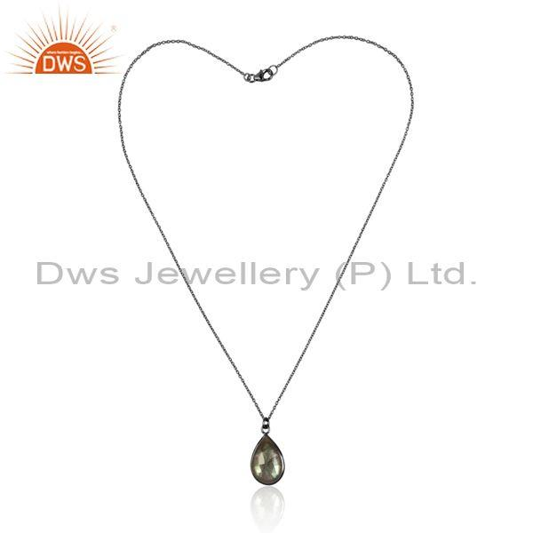 Labradorite set pendant and black on sterling silver chain
