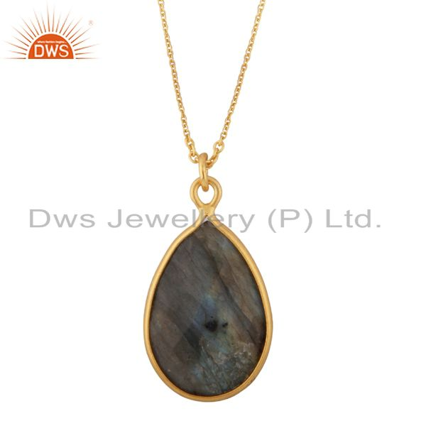 22k gold plated sterling silver labradorite bezel set drop pendant with chain