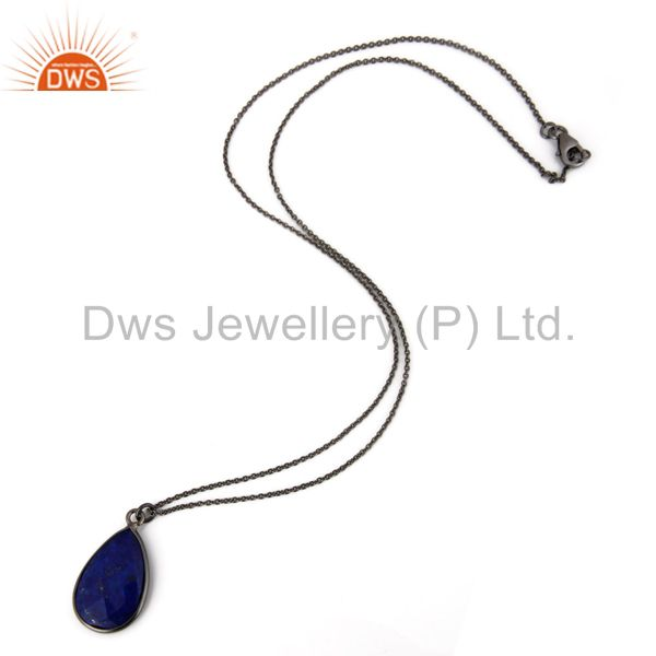 Oxidized Sterling Silver Lapis Lazuli Gemstone Bezel Set Drop Pendant With Chain