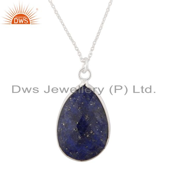 Handmade Sterling Silver Faceted Lapis Lazuli Bezel Set Drop Pendant With Chain
