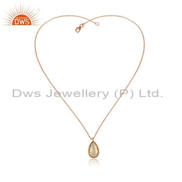 Pear Cut Lemon Topaz Pendant And Rose Gold On Silver Chain
