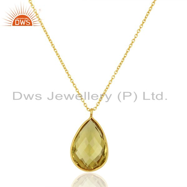 Lemon Topaz Gemstone Gold Plated Silver Chain Pendant Jewelry