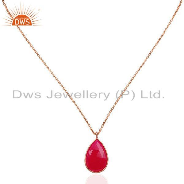 Rose Gold Plated 925 Silver Pink Chalcedony Gemstone Pendant Manufacturer
