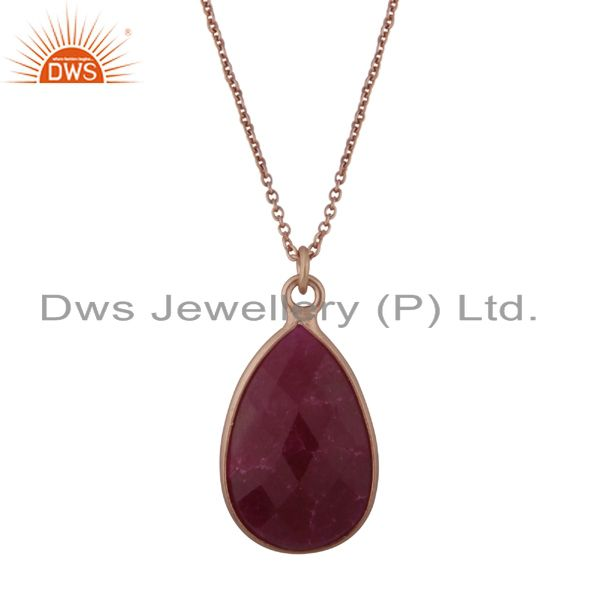 18k rose gold plated sterling silver ruby bezel set drop pendant with chain