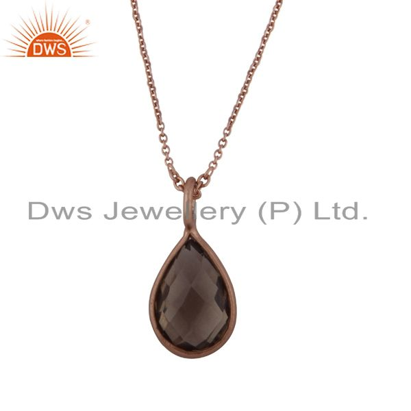 18k rose gold plated sterling silver smoky quartz bezel drop pendant with chain