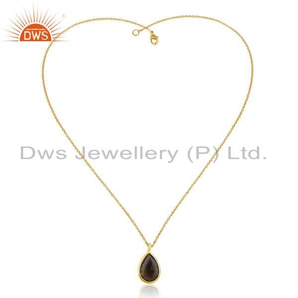Smoky Quartz Gemstone Gold Plated Sterling Silver Chain Pendant