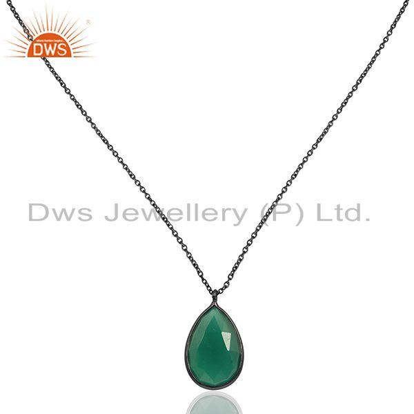 Green Onyx Gemstone Black Rhodium Plated 925 Silver Pendant Manufacturer