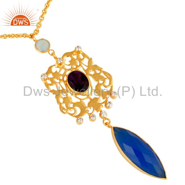 14K Yellow Gold Plated Hydro Amethyst And Chalcedony Designer Pendant