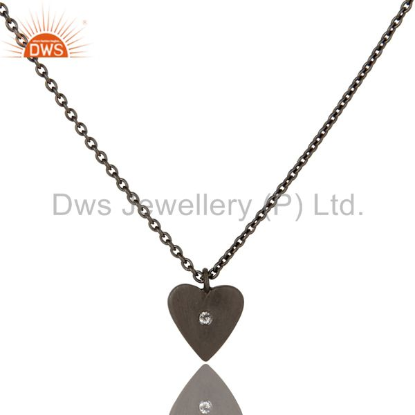 Black Oxidized 925 Sterling Silver Heart Design White Topaz Chain Pendant