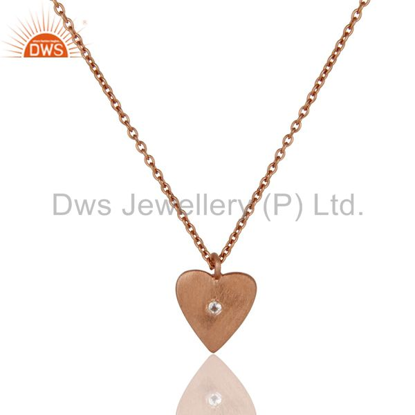 18K Rose Gold Plated 925 Sterling Silver Heart Design White Topaz Chain Pendant