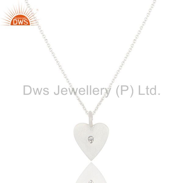 Handmade Solid 925 Sterling Silver Heart Design White Topaz Chain Pendant