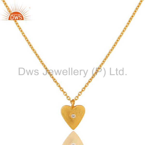 18K Gold Plated 925 Sterling Silver Heart Design White Topaz Chain Pendant