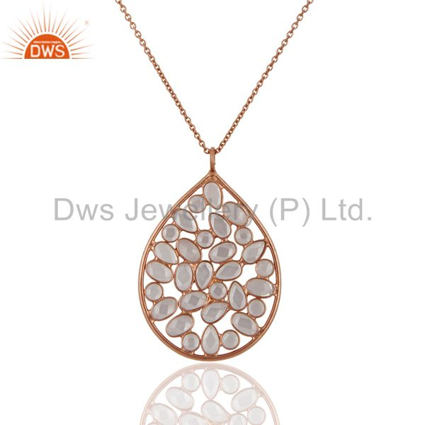 18K Rose Gold Over Sterling Silver Cubic Zirconia Drop Pendant With Chain