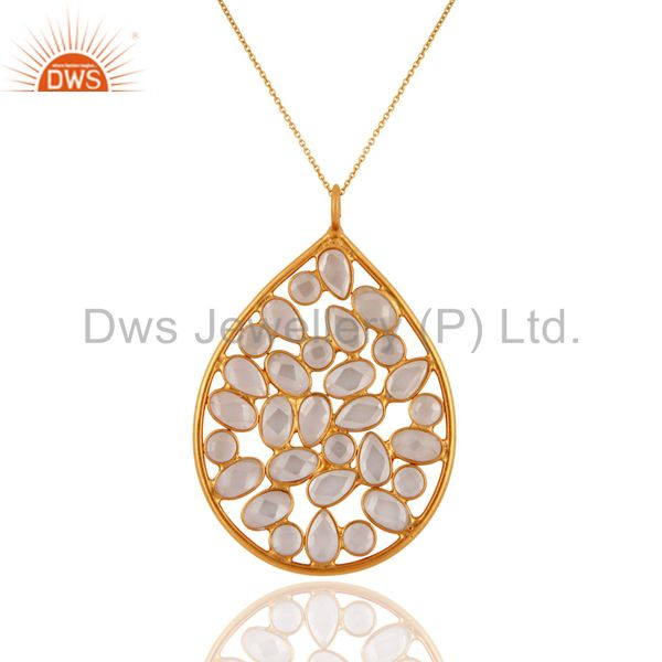 18K Gold Plated 925 Sterling Silver White Zircon Tear Drop Pendant With Chain