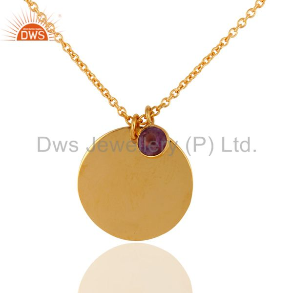 "Solid 18K Yellow Gold Natural Amethyst Gemstone Pendant With 16"" Chain"
