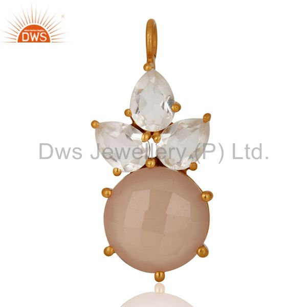 18K Yellow Gold Over Sterling Silver Rose Chalcedony And Crystal Quartz Pendant