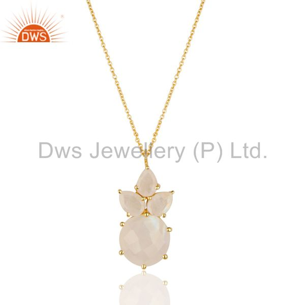 14K Gold Plated 925 Sterling Silver Rainbow Moonstone Prong Set Chain Pendant