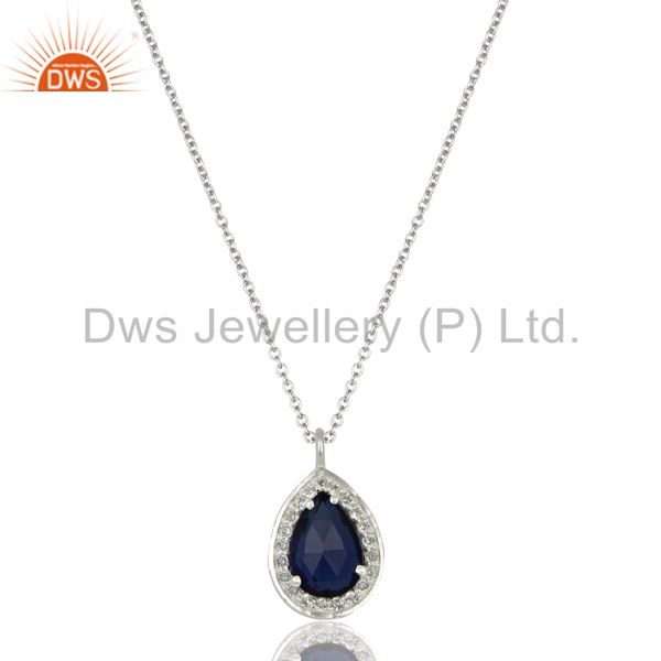 Blue Corundum White Topaz 925 Sterling Silver Chain Pendant Necklace Jewelry