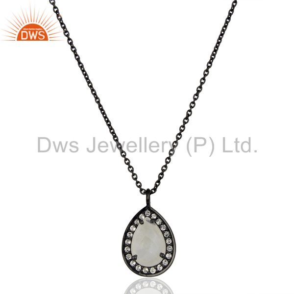 Rainbow Moonstone White Topaz Black Oxidized 925 Sterling Silver Chain Pendant