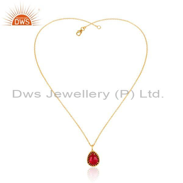 Garnet set gold on 925 silver statement pendant and necklace