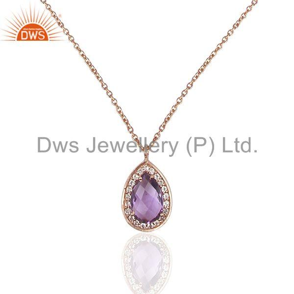Natural Amethyst Birthstone Rose Gold 925 Silver Girls Chain Pendant