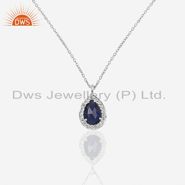 Blue gemstone 925 sterling silver topaz chain pendant manufacturers