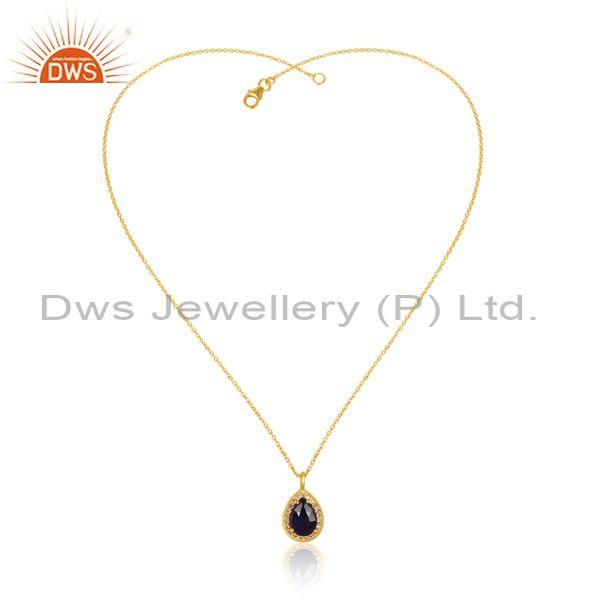 Corundum Blue Set Gold On 925 Silver Pendant And Necklace