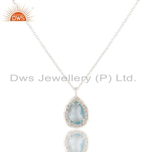 Blue topaz & white topaz solid 925 sterling silver chain pendant necklace